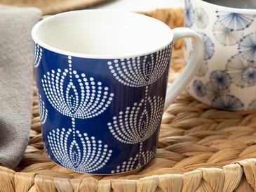Misty Porselen 2'li Kupa 410 Ml Lacivert-beyaz
