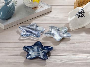 Ocean Stars Cam 3'lü Çerezlik 14 Cm Beyaz - Lacivert