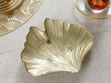 Ginkgo Leaf Cam Çerezlik 18 Cm Gold