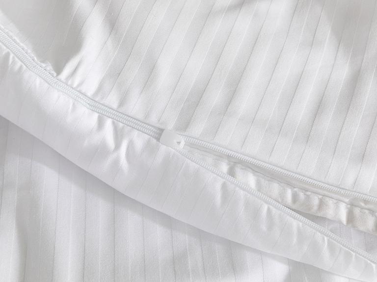 White Collection Çizgili Pamuk Saten Tek Kişilik Nevresim 140x200 Cm Beyaz