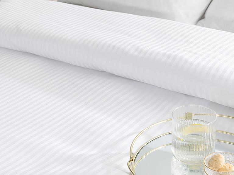 White Collection Çizgili Pamuk Saten Tek Kişilik Nevresim 160x210 Cm Beyaz