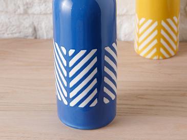 Bottle Vazo 10x10x27 Cm Lacivert