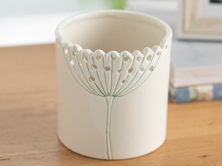 Dandelion Saksı 10x10x10.4 Cm Bej