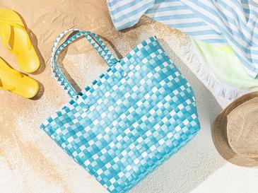 The Beach Plaj Çantası 34.5 X 15.5 X 35 Mavi - Kırık Beyaz