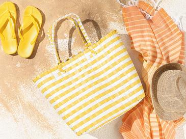The Beach Plaj Çantası 34.5 X 15.5 X 35 Beyaz - Sarı