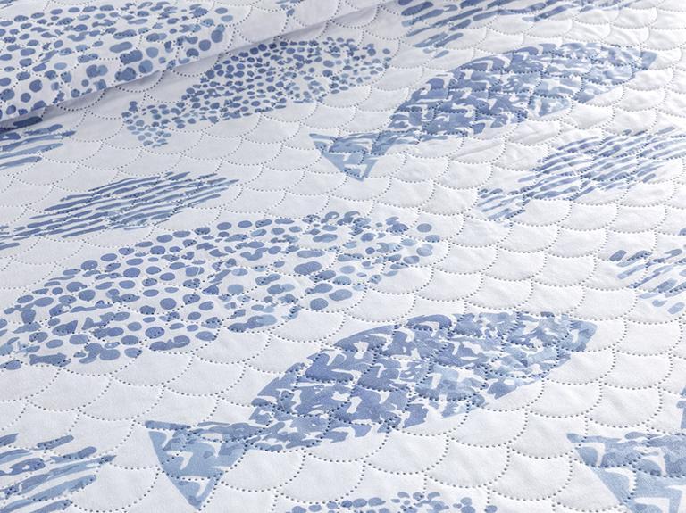 Sea Shoal Çift Kişilik Çok Amaçlı Yatak Örtüsü 200x220 Cm Mavi