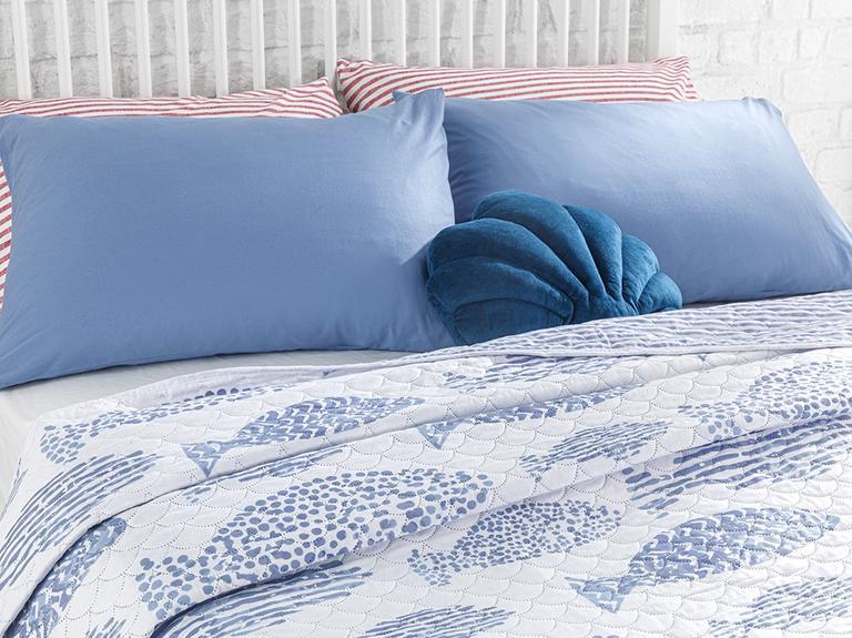 Sea Shoal King Size Çok Amaçlı Yatak Örtüsü 240x220 Cm Mavi