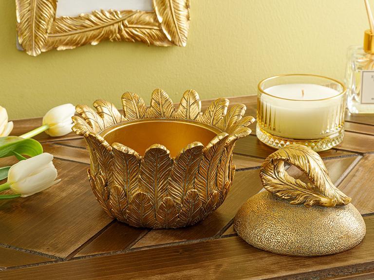 Feathers Dekoratif Kutu 15.5x15.5x13cm Gold