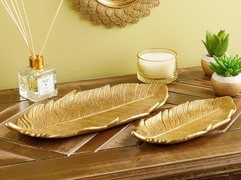 Feathers Dekoratif Tabak 11.5x25x2.6cm Gold