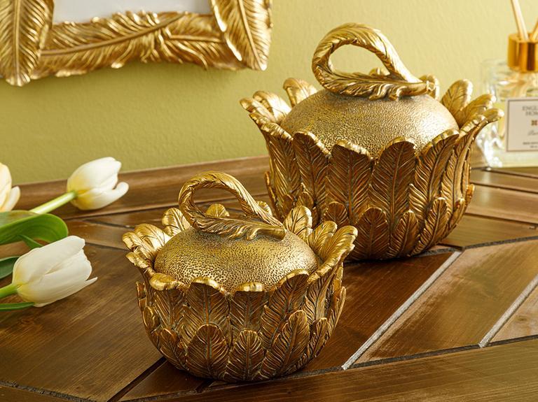 Feathers Dekoratif Kutu 11.9x11.9x9.8cm Gold