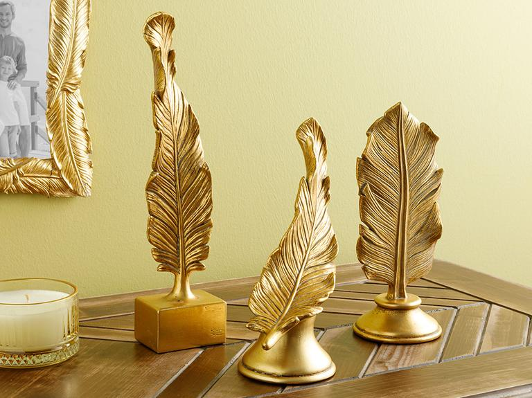 Feathers Dekoratif Obje 19.2x8x24.9cm Gold