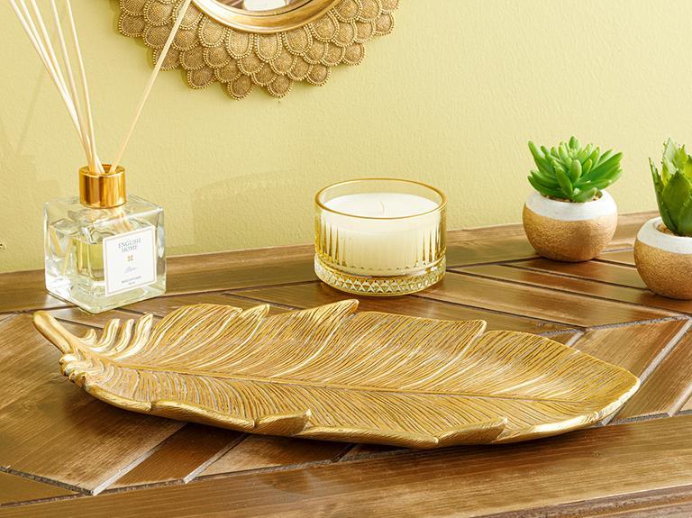 Feathers Dekoratif Tabak 16.9x35.7x2.8cm Gold