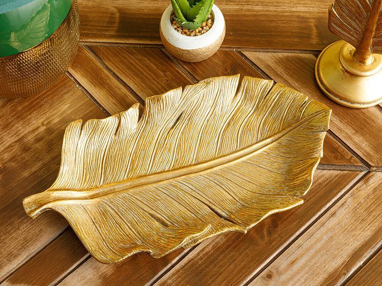 Banana Leaf Dekoratif Tabak 13x25.4x2.3cm Gold
