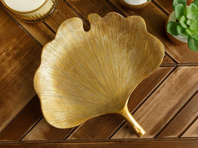 Gingko Dekoratif Tabak 18x18x3,5cm Gold
