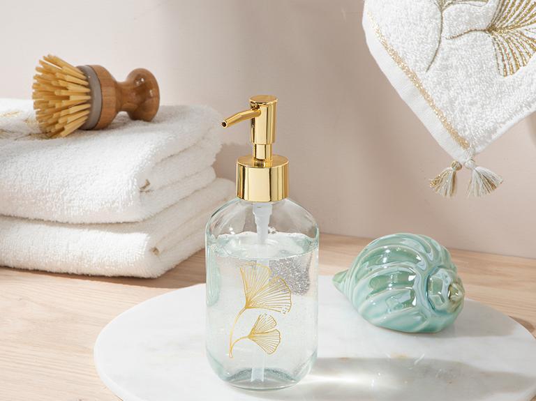 Gingko Leaf Cam Banyo Sıvı Sabunluk 7x7x18 Cm Gold