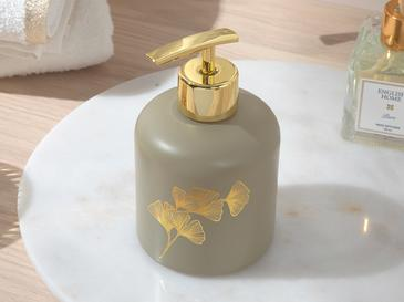 Gingko Cam Banyo Sıvı Sabunluk 8x8x14 Cm Bej