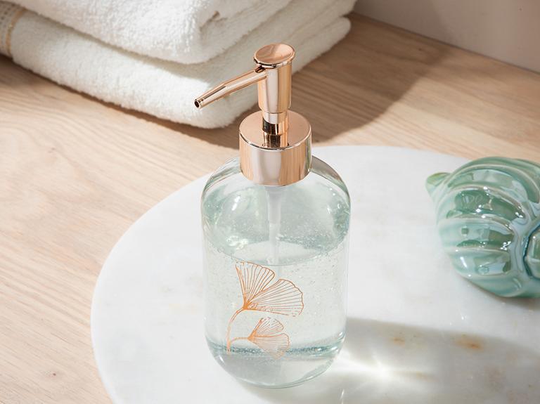 Gingko Leaf Cam Banyo Sıvı Sabunluk 7x7x18 Cm Rose Gold