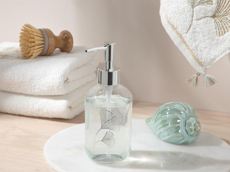 Gingko Leaf Cam Banyo Sıvı Sabunluk 7x7x18 Cm Silver