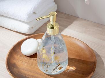 Dandelion Cam Banyo Sıvı Sabunluk 7x7x18 Cm Gold