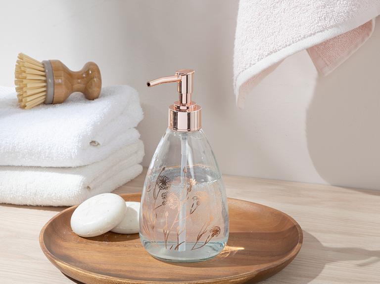 Dandelion Cam Banyo Sıvı Sabunluk 7x7x18 Cm Rose Gold