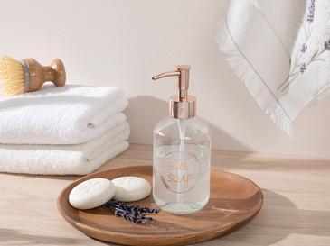 Soft Bath Cam Banyo Sıvı Sabunluk 7x7x18 Cm Rose Gold