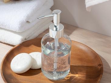 Cow Parsley Cam Banyo Sıvı Sabunluk 7x7x18 Cm Silver