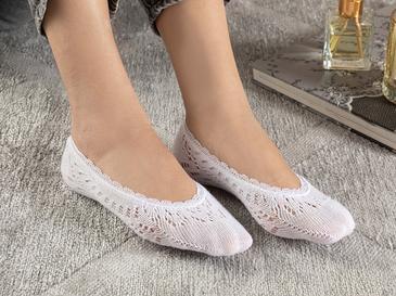 Fairy Pamuk Kadın Babet Çorap Beyaz