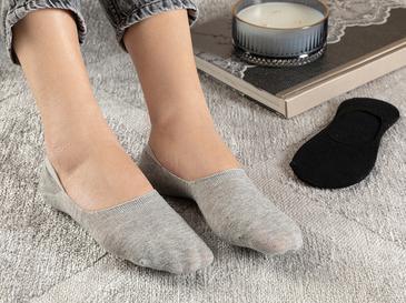 Regular Pamuk 2'li Babet Çorap Siyah- Gri