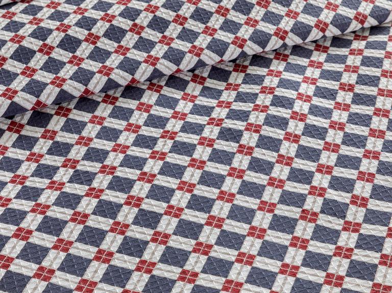 Oxford Baskılı Tek Kişilik Pıke 150x220 Cm Lacivert