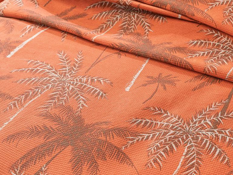 Glitter Palm Baskılı Tek Kişilik Pike 150x220 Cm Yanık Portakal