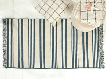 Modern Stripe Pamuklu Kilim 80x150 Cm İndigo