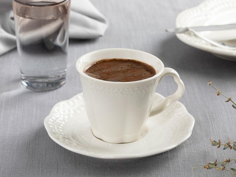 Viyana Porselen 2'li Kahve Fincan Takımı 80 Ml Açık Krem