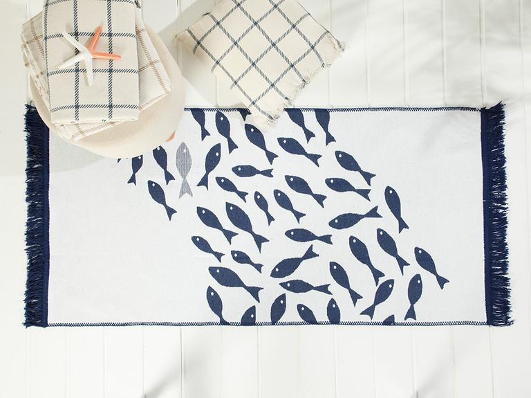 Little Fish Dokuma Kilim 80x150 Cm Lacivert