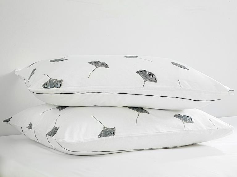Gingko Leaf Pamuklu 2'li Yastık Kılıfı 50x70 Cm Lacivert