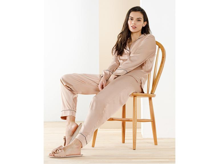 Smooth Solid İpek Saten Pijama Takımı M Nude