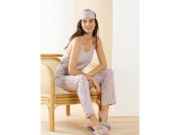 Pretty Desenli Viskon Pijama Takımı M Gül Kurusu