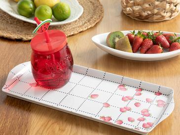 Strawberry Melamin Dikdörtgen Tepsi 38x18 Cm Beyaz - Kırmızı
