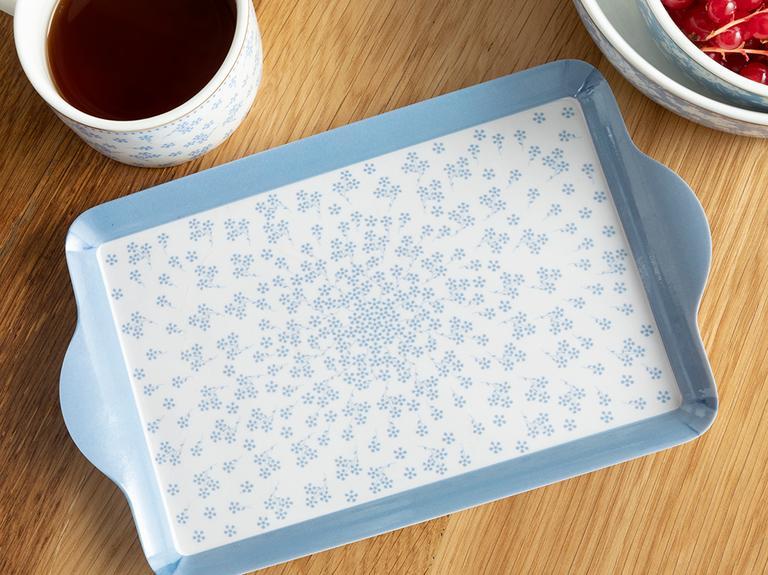 Dande Melamin Dikdörtgen Tepsi 24x14 Cm Beyaz - Mavi