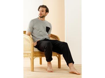 Carlo Pamuk Cep Detaylı Pijama Takımı M Siyah - Gri