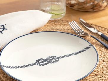 Rope Porselen Servis Tabağı 24 Cm Beyaz - Lacivert