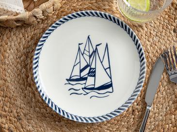 Sail Porselen Pasta Tabağı 19 Cm Beyaz - Lacivert