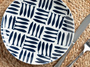 Little Fishes Porselen Pasta Tabağı 19 Cm Beyaz - Lacivert