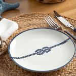 Rope Porselen Pasta Tabağı 19 Cm Beyaz - Lacivert