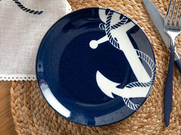 Anchor Porselen Pasta Tabağı 19 Cm Beyaz - Lacivert