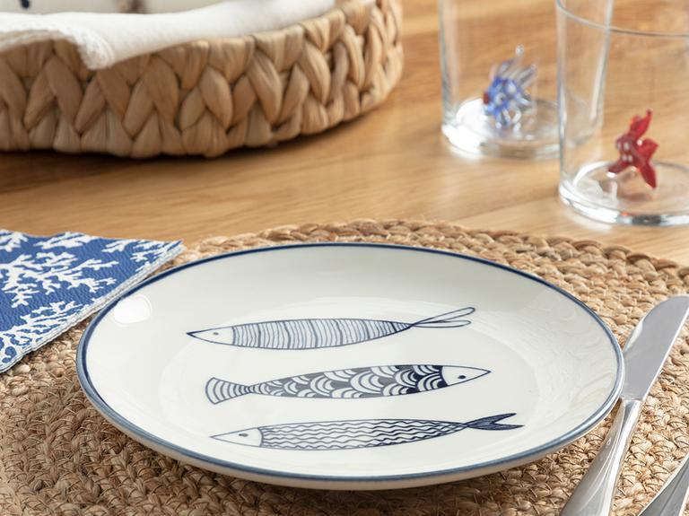 Big Fish Porselen Pasta Tabağı 19 Cm Beyaz - Lacivert