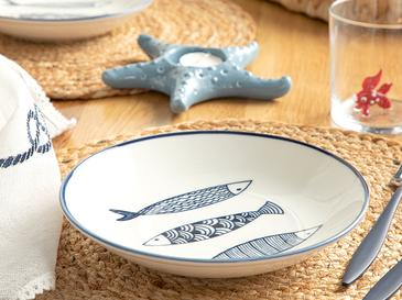 Big Fish Porselen Çukur Tabak 19 Cm Beyaz - Lacivert