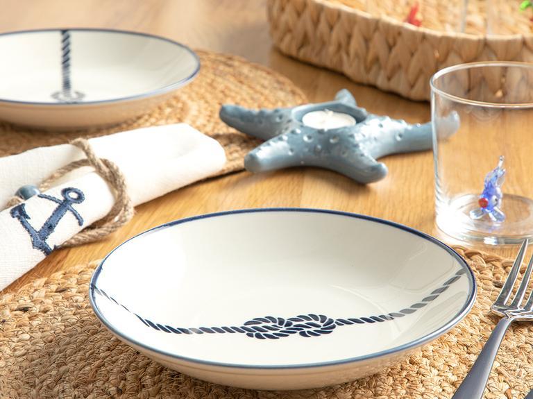 Rope Porselen Çukur Tabak 19 Cm Beyaz - Lacivert