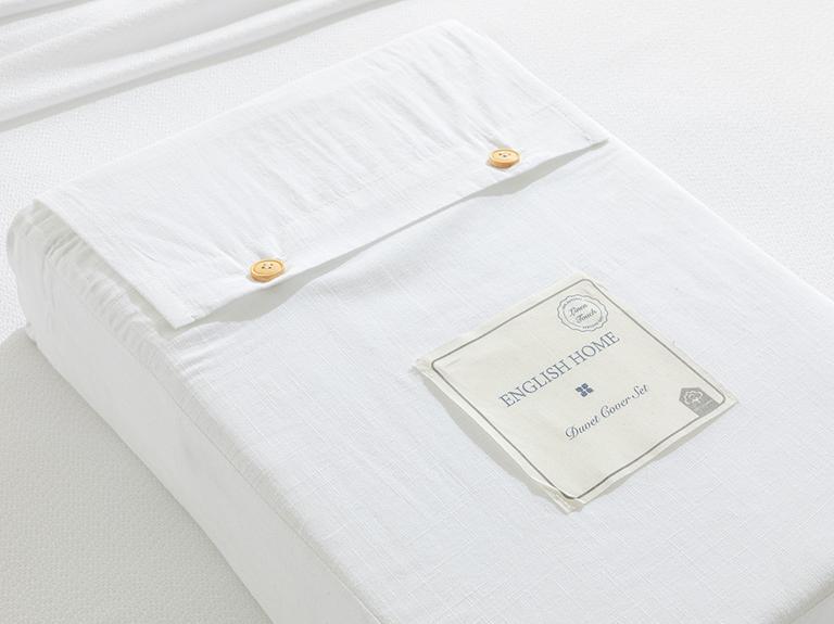 Moderna Düz Flamlı Tek Kişilik Nevresim Takımı 160x220 Cm Beyaz