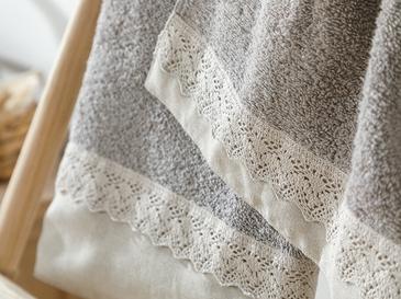 Lace&linen Kopanakili 2'li Kutulu Havlu Seti 30x45-50x80 Cm Koyu Bej