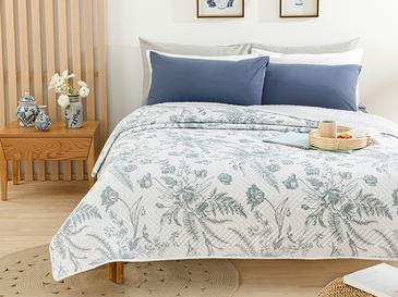 Grace Flower Çift Kişilik Çok Amaçlı Yatak Örtüsü 200x220 Cm Gri